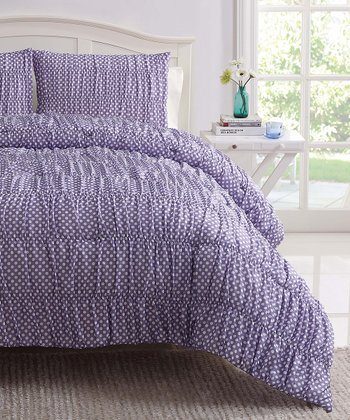 Purple Polka Dot Ruched Reversible Comforter Set