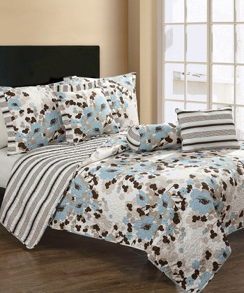 Blue Astor Quilt Set