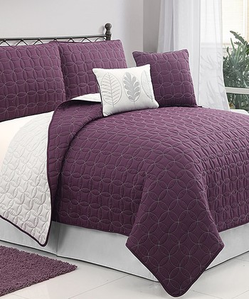 Plum & Gray Hayden Queen Quilt Set