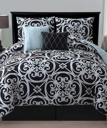 Black Kennedy Reversible Comforter Set