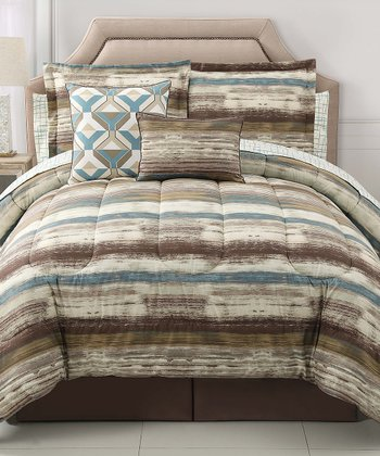 Chocolate & Blue Allegra Comforter Set