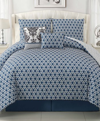 Gray & Blue Beckham Comforter Set