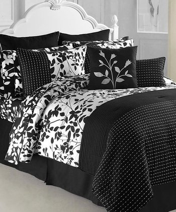 Black & White Shadow Vine Comforter Set