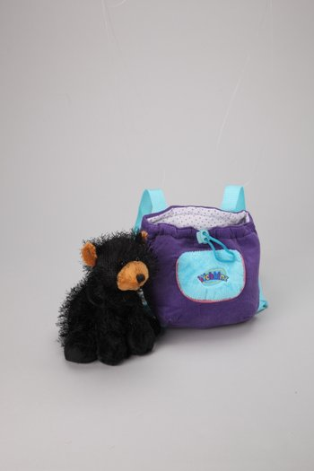 Black Bear Plush Toy & Carrier