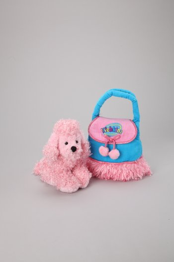 Pink Poodle Plush Toy & Carrier