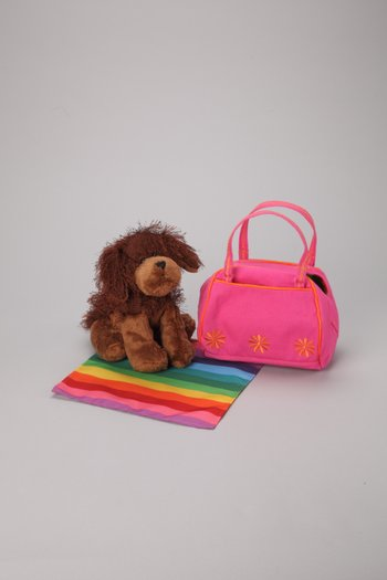 Brown Dog Plush Toy & Carrier