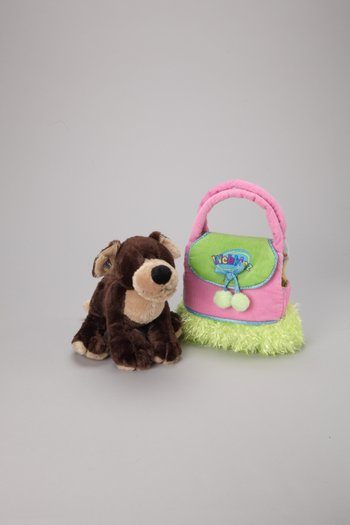 Mocha Pup Plush Toy & Carrier