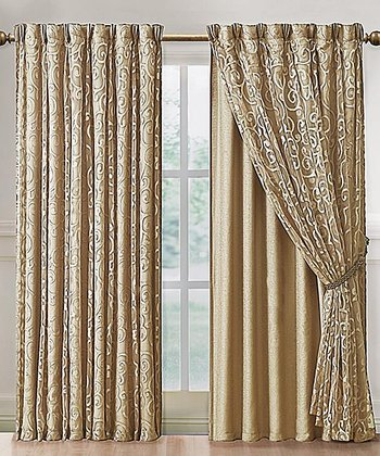 Gold Irena Curtain Panel & Backing