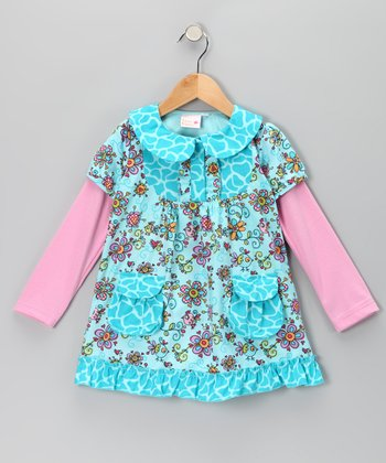 Blue Janea's World Erica Layered Dress - Toddler & Girls