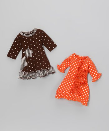 Brown & Orange Polka Dot Doll Dress Set