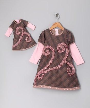 Brown Swirl Dress & Doll Outfit - Toddler