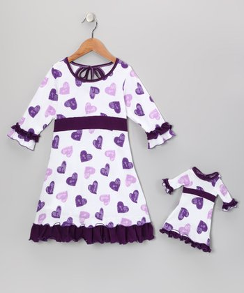 White & Purple Cecelia Dress & Doll Outfit - Girls