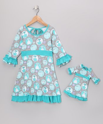 Blue & Green Cecelia Dress & Doll Outfit