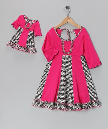 Pink & Navy Sarah Dress & Doll Dress