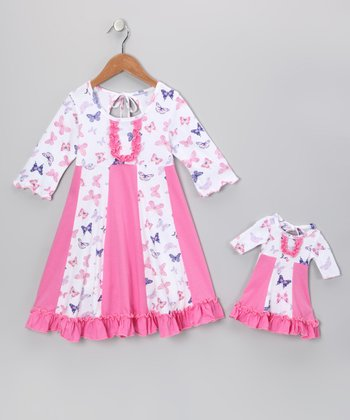 Pink & White Butterfly Sarah Dress & Doll Outfit - Girls