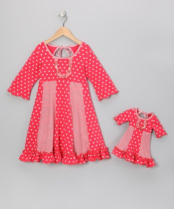 Coral Pink Heart Sarah Dress & Doll Outfit - Girls