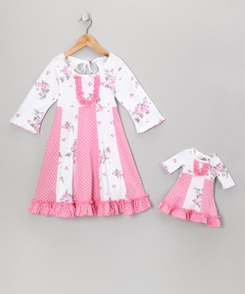 Pink & White Floral Sarah Dress & Doll Outfit - Girls