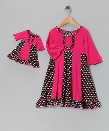 Pink & Black Sarah Dress & Doll Outfit - Girls
