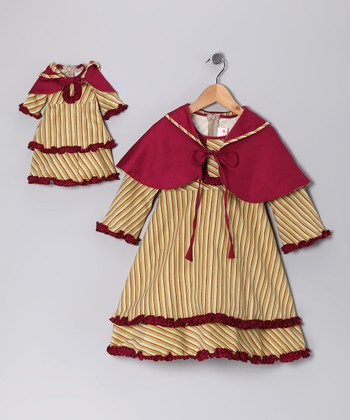 Green Stripe Cape Dress & Doll Outfit - Girls