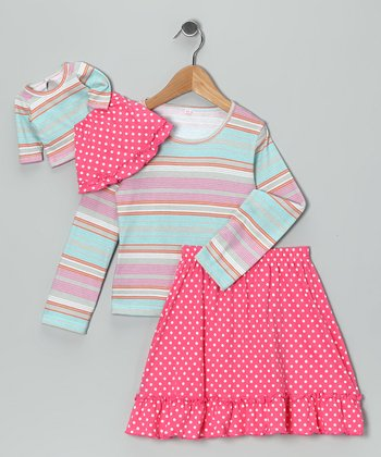 Pink & Blue Chelsea Skirt Set & Doll Outfit - Girls