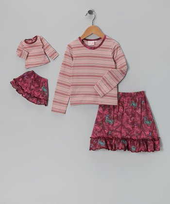 Plum Chelsea Skirt Set & Doll Outfit
