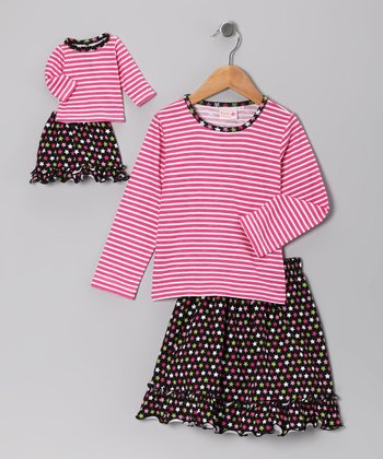 Black Star Skirt Set & Doll Outfit - Girls