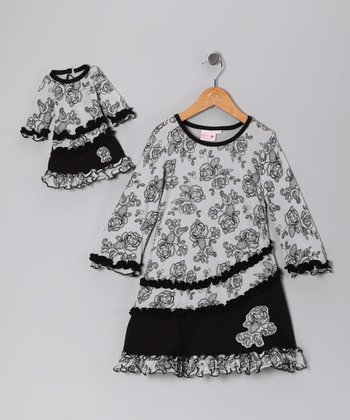 Black Rose Ruffle Dress & Doll Outfit