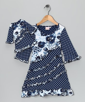 Blue & White Emma Dress & Doll Outfit