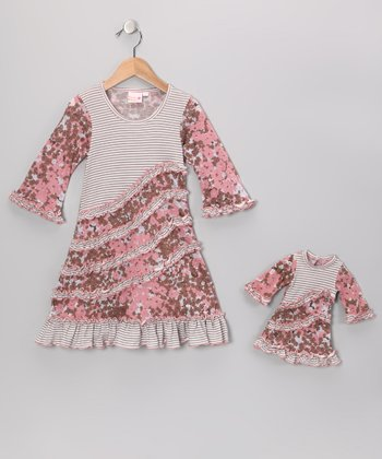 Pink & Brown Emma Dress & Doll Outfit - Girls