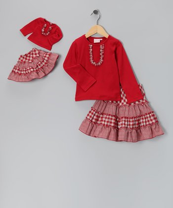 Red Victoria Skirt Set & Doll Outfit