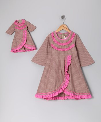 4EverPrincess Brown & Pink Ruffle Dress & Doll Outfit - Girls