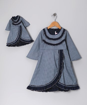 Blue Ruffle Dress & Doll Outfit - Girls