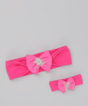 Hot Pink Bow Headband & Doll Headband