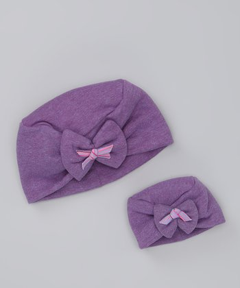 Purple Little Lady Bow Hat & Doll Hat