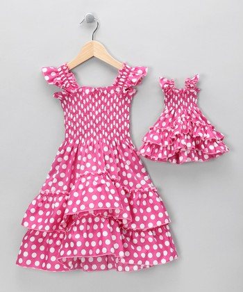 Pink Polka Dot Angel-Sleeve Dress & Doll Outfit