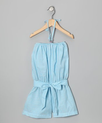 4EverPrincess Blue & White Gingham Leo Romper - Toddler & Girls