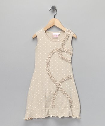 Beige Polka Dot Sally Dress - Girls