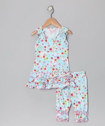 4EverPrincess Blue Floral Meilinee Tunic & Leggings - Infant