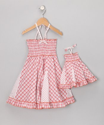 Red Plaid Smocked Dress & Doll Outfit - Toddler & Girls