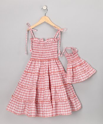 Red Tiered Dress & Doll Outfit - Toddler & Girls