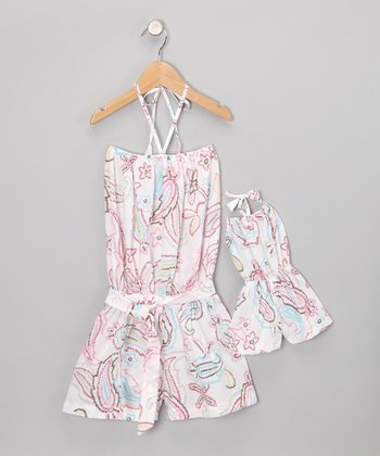 White Paisley Romper & Doll Outfit - Toddler & Girls
