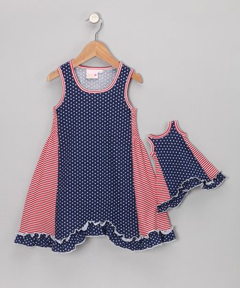 Blue Star Dress & Doll Outfit - Toddler & Girls