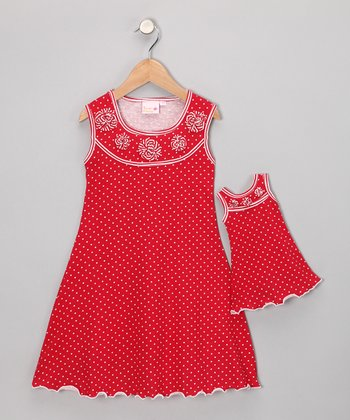 Red Sally Dress & Doll Outfit - Toddler & Girls