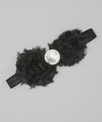 Black Gem Rose Headband