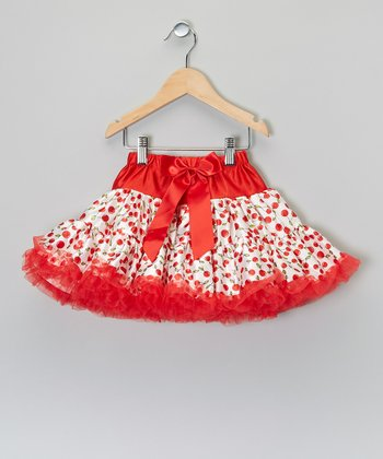 Red & White Cherry Pettiskirt - Toddler & Girls