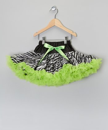 Lime & Black Zebra Pettiskirt - Toddler & Girls