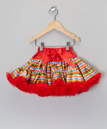 Red & Pink Rainbow Stripe Pettiskirt - Toddler & Girls
