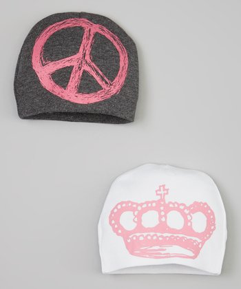White Crown & Gray Peace Beanie Set