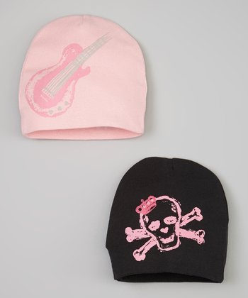 Pink Guitar & Black Skull Beanie Set