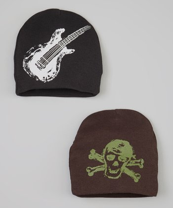 Black Guitar & Brown Skull Beanie Set